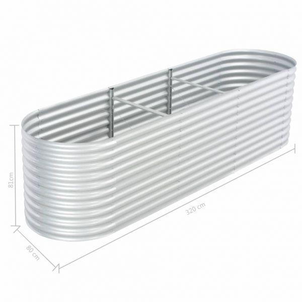 Hochwertige Garten-Hochbeet 320x80x81 cm Verzinkter Stahl Silbern Narrabri