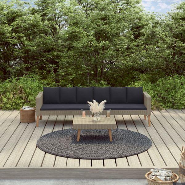 Geschmackvolle 2-tlg. Garten-Lounge-Set mit Auflagen Poly Rattan Beige San Nicolas de los Garza