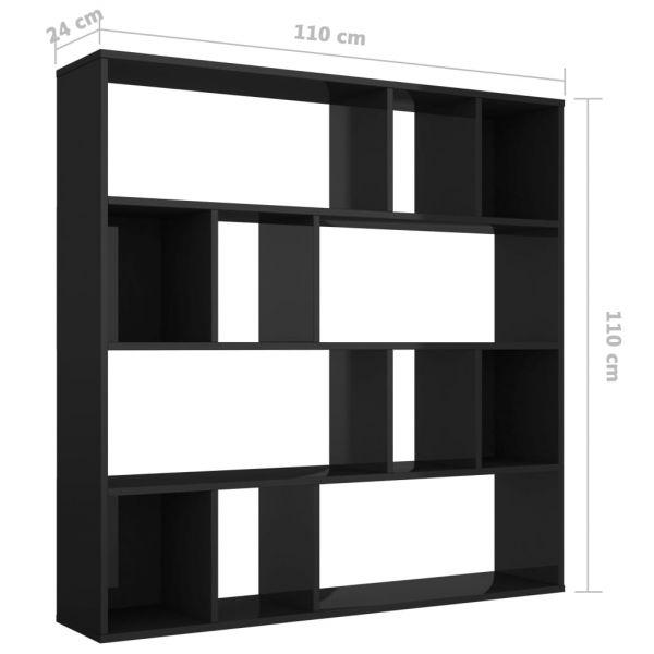 Dekorative Sarno Raumteiler/Bücherregal Hochglanzschwarz 110 x 24 x 110 cm Spanplatte