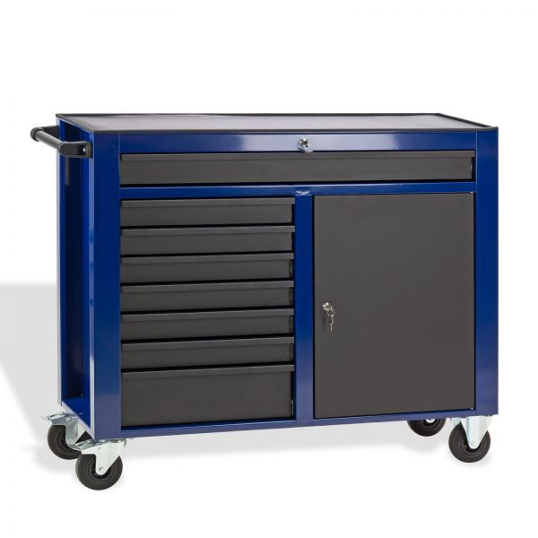 Metall Werkstattwagen / Werkzeugwagen 7 Schubladen schwarz / blau