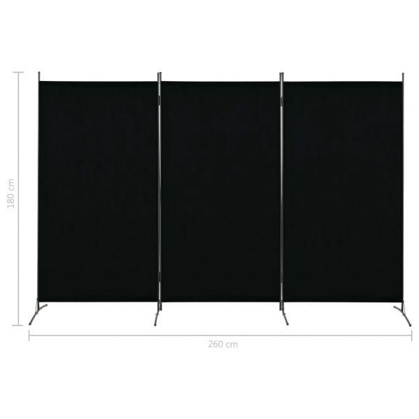 Prachtvolle Corato 3-tlg. Raumteiler Schwarz 260 x 180 cm