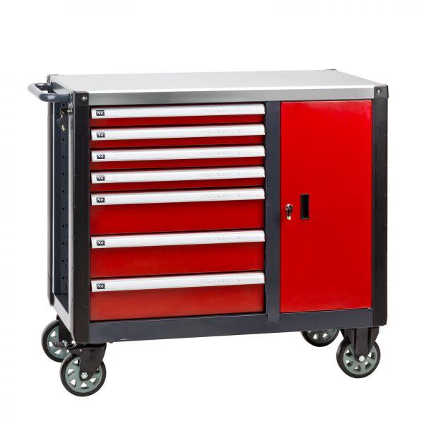 Werkstattwagen / Werkzeugwagen mit 7 Schubladen, Rot, 95 kg