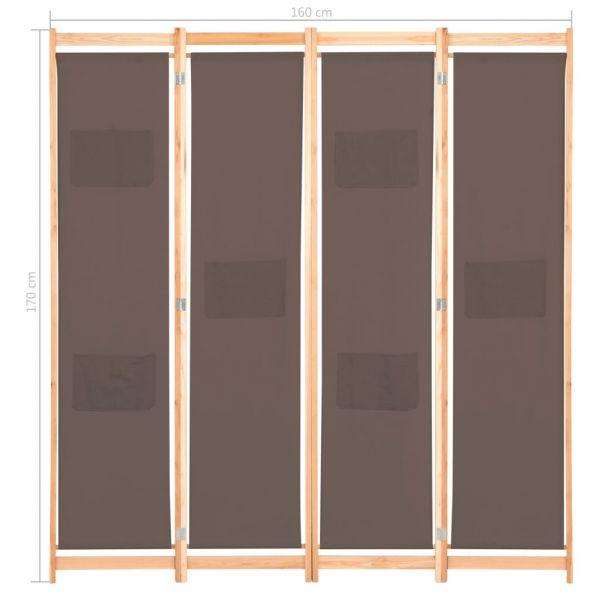 Klassische Trapani 4-teiliger Raumteiler Braun 160 x 170 x 4 cm Stoff