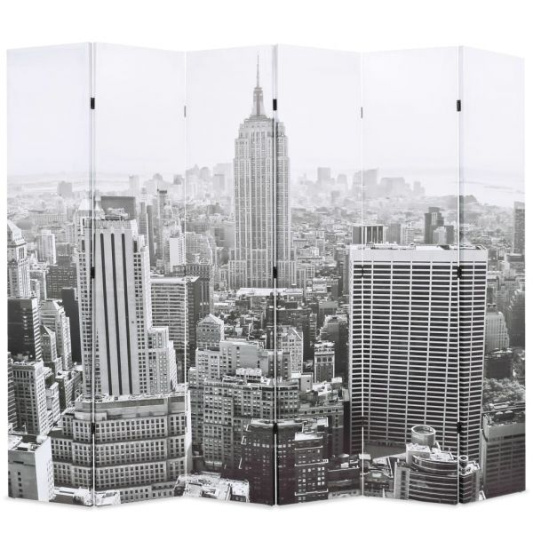 Wundervolle Livorno Raumteiler klappbar 228 x 170 cm New York bei Tag Schwarz-Weiß