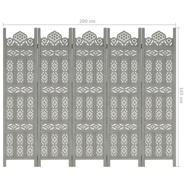 Schöne Martina Franca 5tlg. Raumteiler Handgeschnitzt Grau 200 x 165cm Mango Massivholz