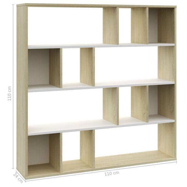 Wunderschöne Cernusco sul Naviglio Raumteiler/Bücherregal Weiß und Eiche 110 x 24 x 110 cm Spanplatt
