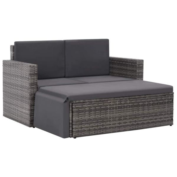Eindrucksvolle 2-tlg. Garten-Lounge-Set mit Auflagen Poly Rattan Grau Navojoa