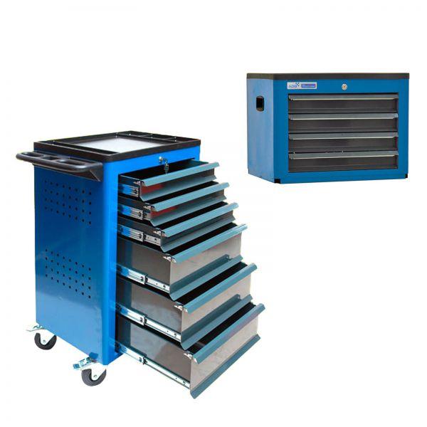 ADB Werkstattwagen Basic mit Werkzeugtruhe, 12 Schubladen blau