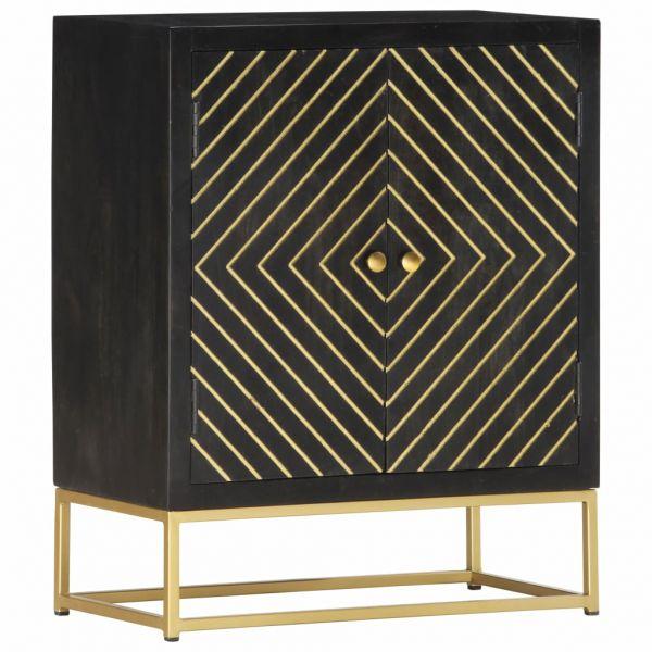 grandiose Sideboard Schwarz und Golden 60 x 30 x 75 cm Massivholz Mango Huyton
