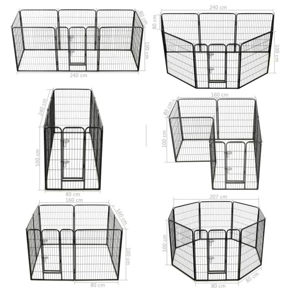 Kräftiger Hunde-Laufgitter 8 Paneele Stahl 80 x 100 cm Schwarz Bytom