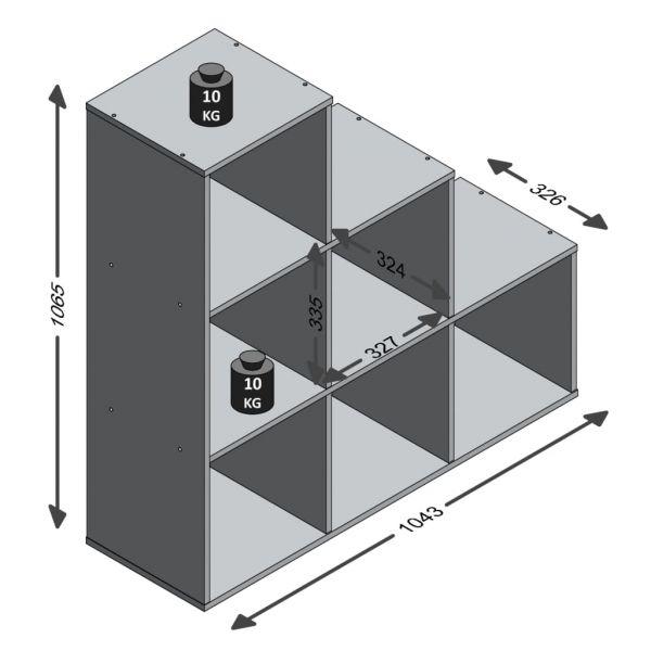 Wunderschöne Angri FMD Raumteiler mit 6 Fächern Weiß