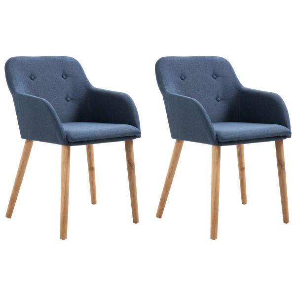 wunderschöne Esszimmerstühle 2 Stk. Blau Stoff und Massivholz Eiche Karcag