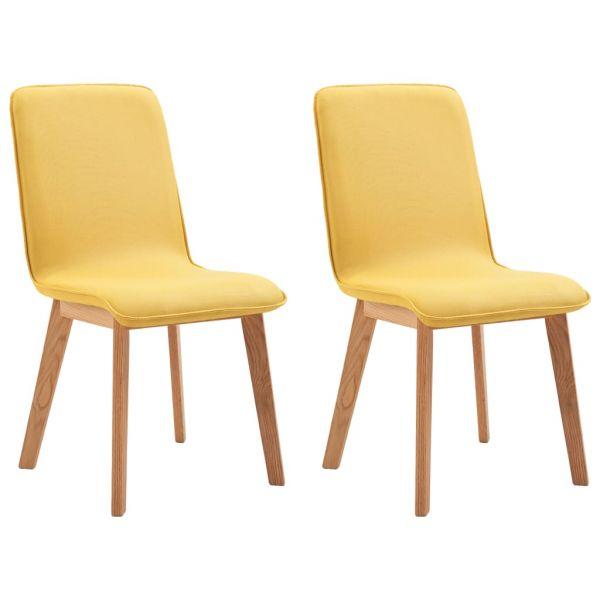 Schöne Esszimmerstühle 2 Stk. Gelb Stoff und Massivholz Eiche Tata