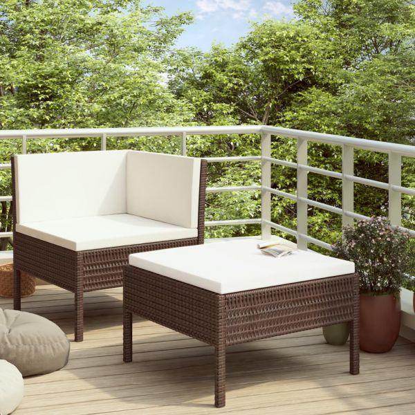 Zauberhafte 2-tlg. Garten-Lounge-Set mit Auflagen Poly Rattan Braun Pachuca