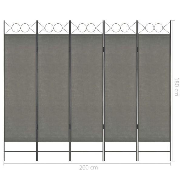 Dekorative Carpi Centro 5-tlg. Raumteiler Anthrazit 200 x 180 cm