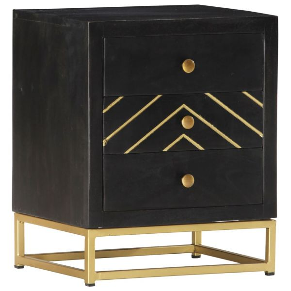 fabelhafte Nachttisch Schwarz und Golden 40 x 30 x 50 cm Mango Massivholz Lillesand