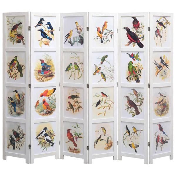 6-teiliger Raumteiler Weiß 210 x 165 cm Vogelmotiv