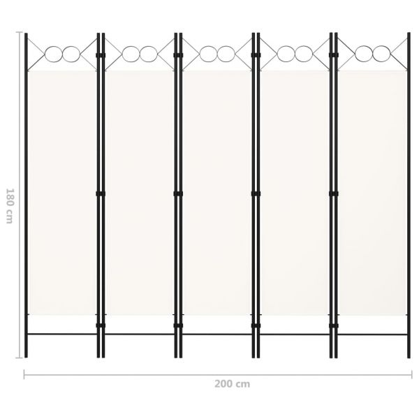 Prachtvolle Maddaloni 5-tlg. Raumteiler Weiß 200 x 180 cm