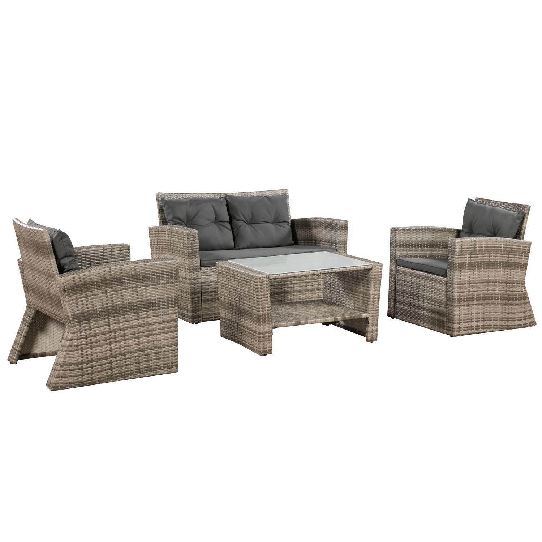 Poly Rattan Lounge Set Sitzgruppe Sitzgarnitur Sofa Gartenmöbel ...