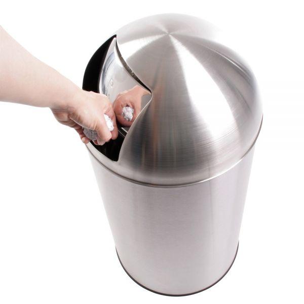 Praktischer Felgueiras Push Mülleimer - mit Deckel, groß, 50L Edelstahl, rutschfest, Silber Abfallbe