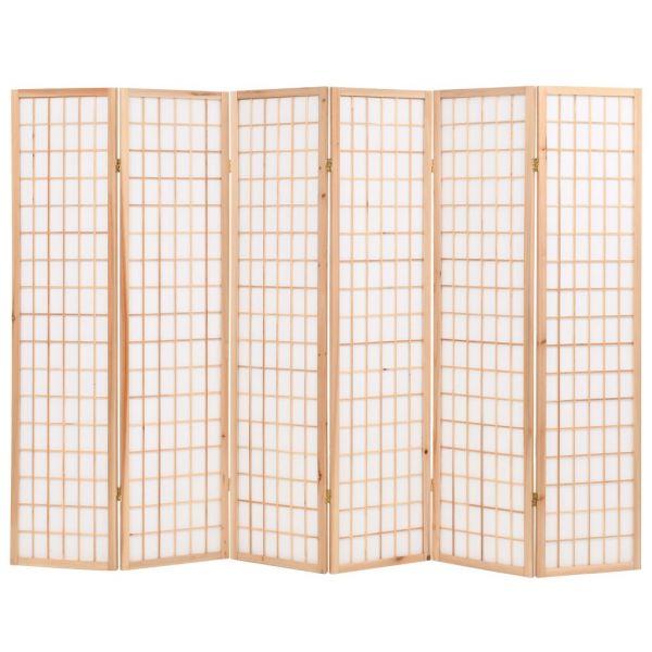Dekorative Varese 6-tlg. Raumteiler Japanischer Stil Klappbar 240 x 170 cm Natur