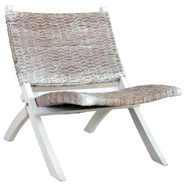 klassische Relaxstuhl Weiß Natur Kubu-Rattan und Massivholz Mahagoni Berettyoujfalu