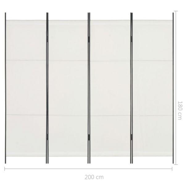 Klassische Pordenone 4-tlg. Raumteiler Weiß 200 x 180 cm