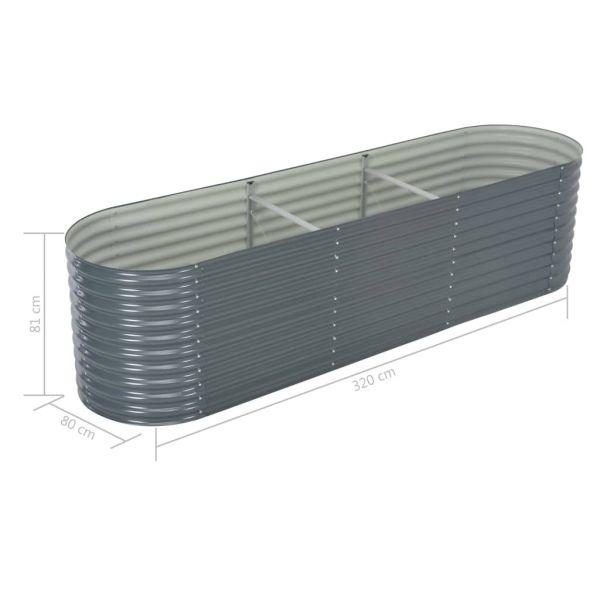 Imposante Garten-Hochbeet 320x80x81 cm Verzinkter Stahl Grau Bargara
