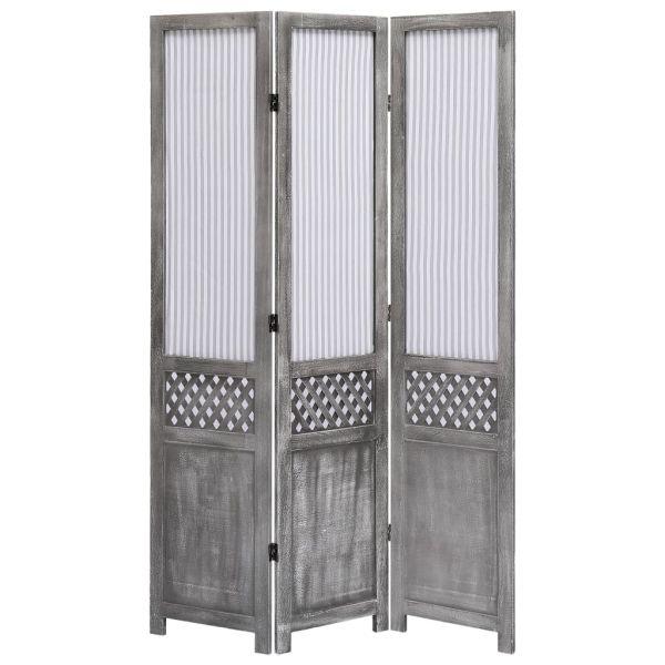 Klassische Modica 3-teiliger Raumteiler Grau 105 x 165 cm Stoff
