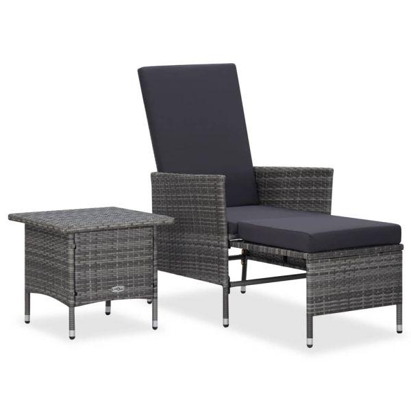 Moderne 2-tlg. Garten-Lounge-Set mit Auflagen Poly Rattan Grau La Paz