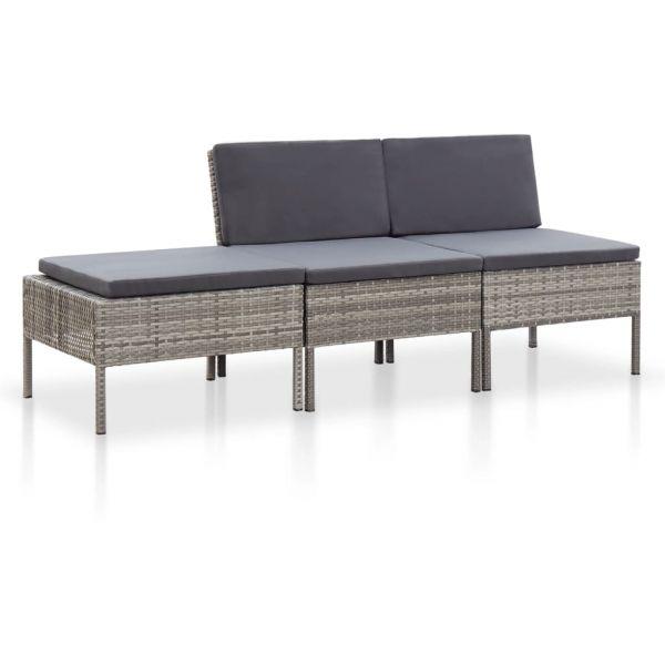 Wunderschöne 3-tlg. Garten-Lounge-Set mit Auflagen Poly Rattan Grau Temixco