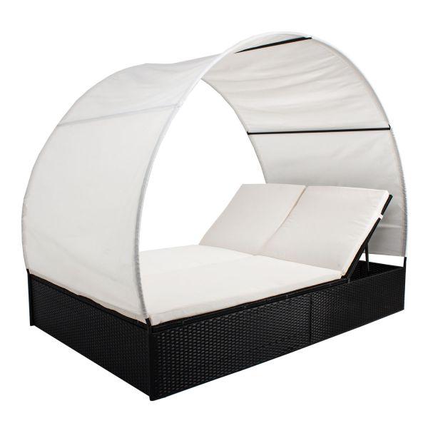 Polyrattan Gartenmöbel Sonnenliege Lounge XL mit Dach für 2 NEU ...