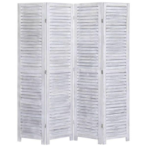 Trendige Settimo Torinese 4-tlg. Raumteiler Grau 140 x 165 cm Holz