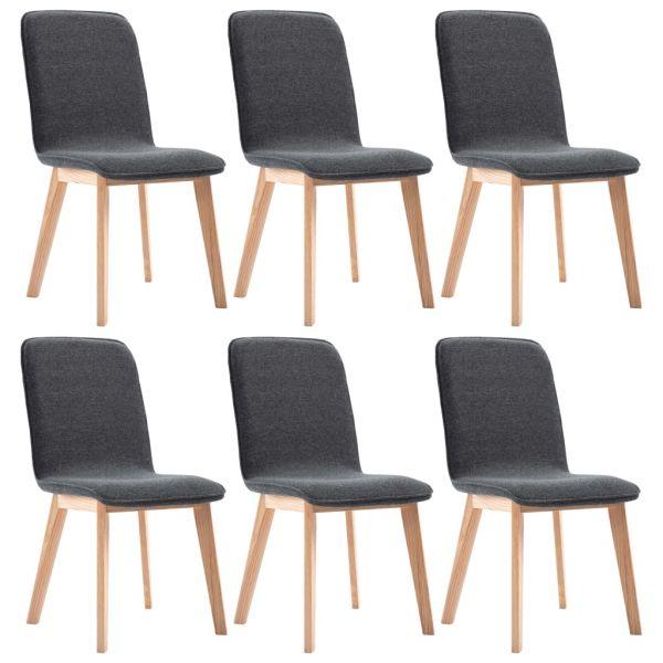üppige Esszimmerstühle 6 Stk. Grau Stoff und Massivholz Eiche Mohacs