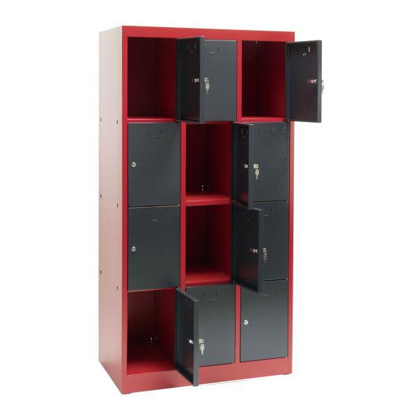 Schließfachschrank / Fächerschrank 12 Fächer rot/anthrazit 88x50x180