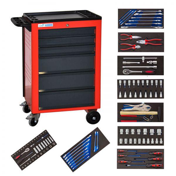 ADB Werkzeugwagen Basic rot mit Werkzeugsatz 115 teilig