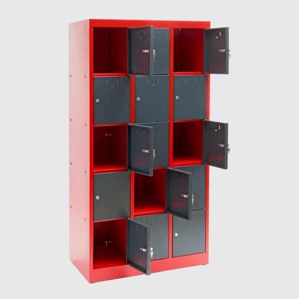 Schließfachschrank / Fächerschrank 15 Fächer rot/anthrazit 88x50x180