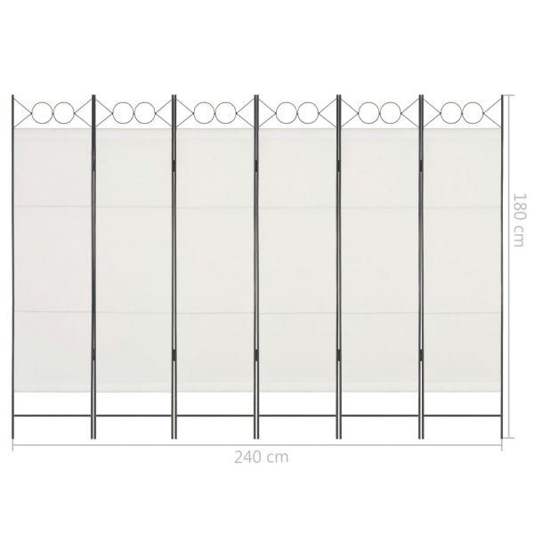 Charmante Bagheria 6-tlg. Raumteiler Weiß 240 x 180 cm