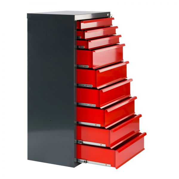 Metall Schubladenschrank / Werkzeugschrank Fernando 9 Schubladen rot