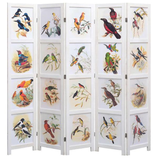 Fabelhafte Rovigo 5-teiliger Raumteiler Weiß 175 x 165 cm Vogelmotiv