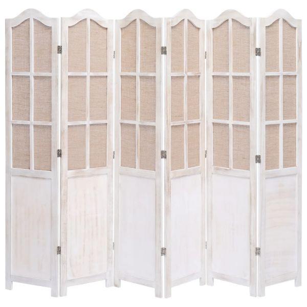 Traumhafte Nicastro 6-teiliger Raumteiler Weiß 210 x 165 cm Stoff