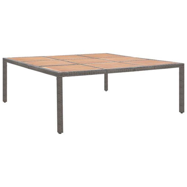 Geschmackvolle Gartentisch Grau 200x200x74cm Poly Rattan und Akazie Massivholz Chvaletice