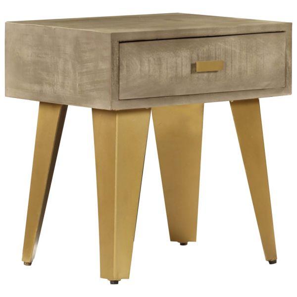 ausgezeichnete Nachttisch 45 x 35 x 48 cm Massivholz Mango und Gusseisen Raholt