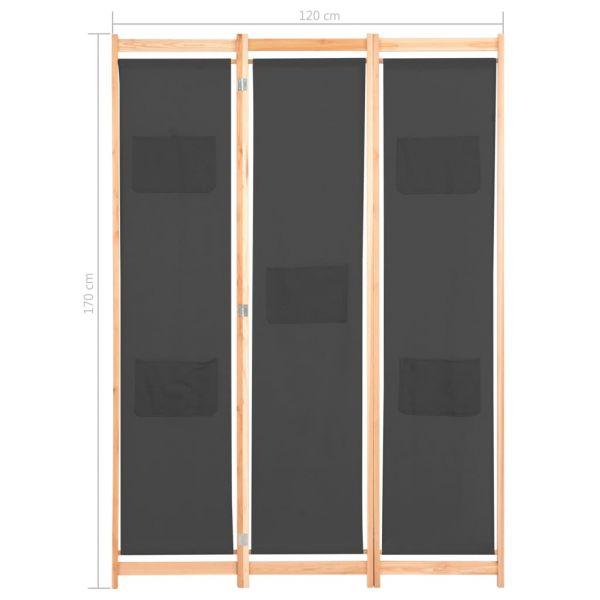 Schöne Ragusa 3-teiliger Raumteiler Grau 120 x 170 x 4 cm Stoff