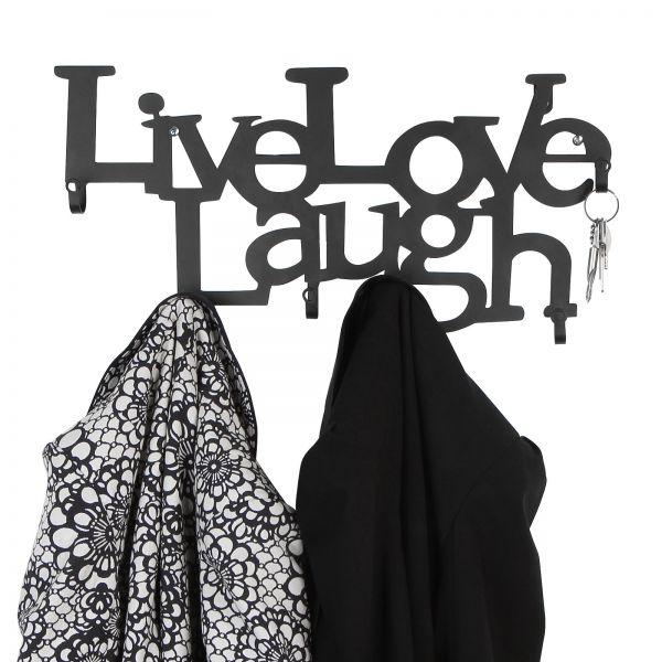 Stabile Metall Wandgarderobe mit 6 Haken - 48 x 23 x 3 cm – Live, Love, Laugh - Garderobenhaken, Wan