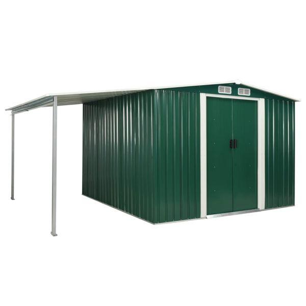Gerätehaus mit Schiebetüren Grün 386 x 259 x 178 cm Stahl Moron