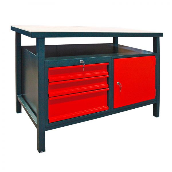 Werkbank / Werktisch 3 Schubladen 1 Türe, 120x60x85 cm