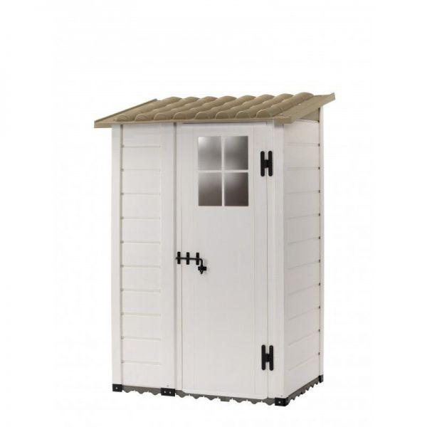 Tuscany Evo 100 Dec Gartenhaus mit 1 dezentralen Tür und Boden inklusive, beige Farbe