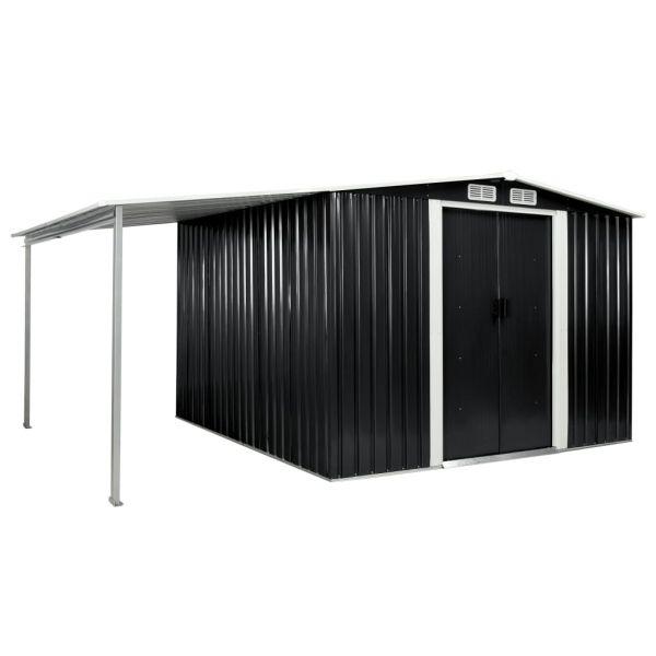 Outdoor Gerätehaus mit Schiebetüren Anthrazit 386 x 259 x 178 cm Stahl Yara