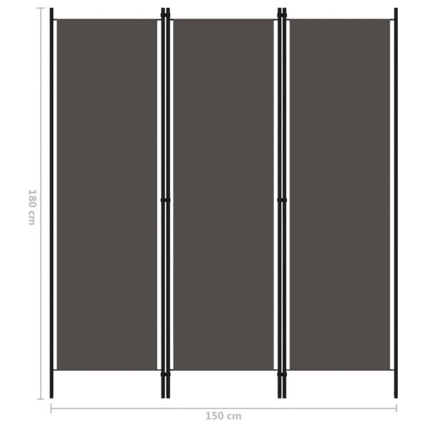 Dekorative L'Aquila 3-tlg. Raumteiler Anthrazit 150x180 cm